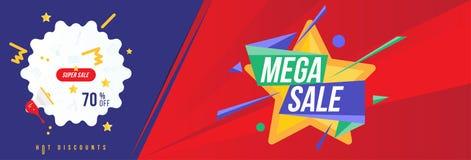 Έξοχη πώληση 70 από την έκπτωση Οριζόντιο πρότυπο εμβλημάτων για τη διαφήμιση και την αφίσα σχεδίου Επίπεδη διανυσματική απεικόνι ελεύθερη απεικόνιση δικαιώματος