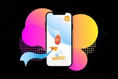 Έξοχη πώληση εμβλημάτων στο πρότυπο Smartphone Ειδική προσφορά 50 με το αεροπλάνο και το μεγάφωνο εγγράφου στο υγρό υπόβαθρο χρώμ ελεύθερη απεικόνιση δικαιώματος