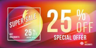 Έξοχη πώληση 25 φωτεινό ορθογώνιο σχήμα και ιπτάμενο αφισών έκπτωσης Πρότυπο για τη διαφήμιση σχεδίου και έμβλημα στο υπόβαθρο χρ Στοκ εικόνες με δικαίωμα ελεύθερης χρήσης