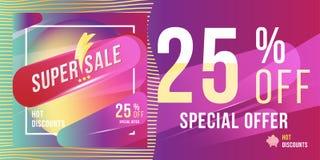 Έξοχη πώληση 25 φωτεινό ορθογώνιο σχήμα και ιπτάμενο αφισών έκπτωσης Πρότυπο για τη διαφήμιση σχεδίου και έμβλημα στο υπόβαθρο χρ Στοκ Εικόνα