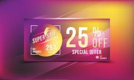 Έξοχη πώληση 25 φωτεινό ορθογώνιο σχήμα και ιπτάμενο αφισών έκπτωσης Πρότυπο για τη διαφήμιση σχεδίου και έμβλημα στο υπόβαθρο χρ Στοκ Εικόνες