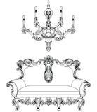 Έξοχοι μυθικοί αυτοκρατορικοί μπαρόκ καναπές και πολυέλαιος που χαράσσονται Διανυσματικός γαλλικός πλούσιος περίπλοκος πολυτέλεια διανυσματική απεικόνιση