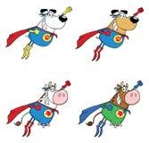 Έξοχοι σκυλί ηρώων και χαρακτήρας μασκότ κινούμενων σχεδίων αγελάδων - σύνολο 1 Συλλογή απεικόνιση αποθεμάτων