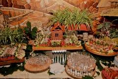 Έξοχος γαμήλιος πίνακας με τα πρόχειρα φαγητά, πίνακας Cossack Στοκ φωτογραφίες με δικαίωμα ελεύθερης χρήσης