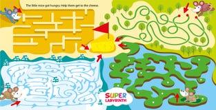 Έξοχος λαβύρινθος για τα παιδιά παιχνίδι λαβύρινθων παιδιών Άντληση της λογικής και χωρικής σκέψης Βοηθήστε τα μικρά ποντίκια από απεικόνιση αποθεμάτων