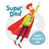 Έξοχος μπαμπάς Ευχετήρια κάρτα ημέρας πατέρων επίσης corel σύρετε το διάνυσμα απεικόνισης Στοκ φωτογραφία με δικαίωμα ελεύθερης χρήσης