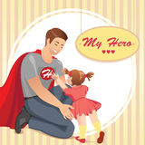 Έξοχος μπαμπάς ηρώων με την κόρη Στοκ Εικόνες