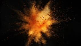 Έξοχος σε αργή κίνηση της χρωματισμένης έκρηξης σκονών που απομονώνεται στο μαύρο υπόβαθρο απόθεμα βίντεο