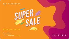 Έξοχο έμβλημα έκπτωσης πώλησης με το ρευστό ύφος Πρότυπο για τη διαφήμιση σχεδίου και αφίσα στο υγρό και το υπόβαθρο χρώματος Επί διανυσματική απεικόνιση