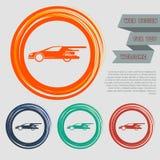Έξοχο εικονίδιο αυτοκινήτων στα κόκκινα, μπλε, πράσινα, πορτοκαλιά κουμπιά για τον ιστοχώρο και το σχέδιό σας με το διαστημικό κε Στοκ Φωτογραφία