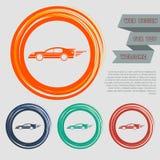 Έξοχο εικονίδιο αυτοκινήτων στα κόκκινα, μπλε, πράσινα, πορτοκαλιά κουμπιά για τον ιστοχώρο και το σχέδιό σας με το διαστημικό κε Στοκ φωτογραφίες με δικαίωμα ελεύθερης χρήσης