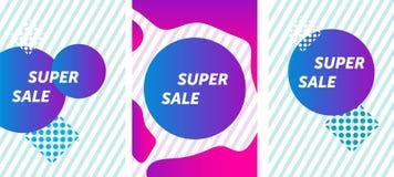 Έξοχο ζωηρόχρωμου και εύθυμου σχέδιο εμβλημάτων πώλησης, r διανυσματική απεικόνιση