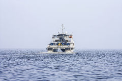 Έξοδος από το λιμένα του Μπακού στο σκάφος ` reshid Behbudov `, η Δημοκρατία του Αζερμπαϊτζάν Κασπιών Θάλασσα, στις 15 Μαρτίου 20 στοκ εικόνα
