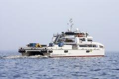 Έξοδος από το λιμένα του Μπακού στο σκάφος ` reshid Behbudov `, η Δημοκρατία του Αζερμπαϊτζάν Κασπιών Θάλασσα, στις 15 Μαρτίου 20 στοκ εικόνες