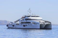Έξοδος από το λιμένα του Μπακού στο σκάφος ` reshid Behbudov `, η Δημοκρατία του Αζερμπαϊτζάν Κασπιών Θάλασσα, στις 29 Μαρτίου 20 στοκ φωτογραφία με δικαίωμα ελεύθερης χρήσης