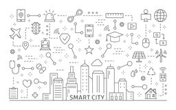 Έξυπνα εικονίδια πόλεων καθορισμένα διανυσματική απεικόνιση