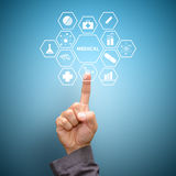 Έξυπνα ιατρικά εικονίδια αφής χεριών Στοκ φωτογραφία με δικαίωμα ελεύθερης χρήσης