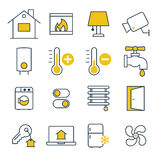 Έξυπνα διοικητικά εικονίδια σπιτιών Στοκ Εικόνα