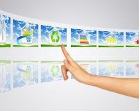 Έξυπνα κτήρια εικονιδίων Το δάχτυλο πιέζει ένα από Στοκ εικόνες με δικαίωμα ελεύθερης χρήσης