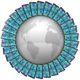 Έξυπνα τηλέφωνα κυττάρων γύρω από τις παγκόσμιες σφαιρικές συνδέσεις διανυσματική απεικόνιση