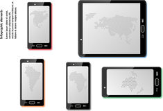 Έξυπνα τηλέφωνα με τους χάρτες Στοκ φωτογραφία με δικαίωμα ελεύθερης χρήσης