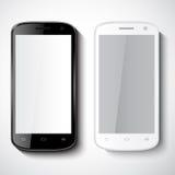 Έξυπνα τηλέφωνα στην άσπρη ανασκόπηση ελεύθερη απεικόνιση δικαιώματος