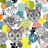 Έξυπνες γάτες και ζωηρόχρωμες αφηρημένες μορφές Στοκ φωτογραφία με δικαίωμα ελεύθερης χρήσης