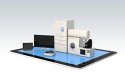 Έξυπνες εγχώριες συσκευές στο PC ταμπλετών για την έννοια IoT διανυσματική απεικόνιση