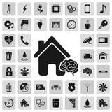 Έξυπνες λεπτομέρειες σπιτιών και απλά εικονίδια σημαδιών υπηρεσιών που τίθενται στο υπόβαθρο Στοκ φωτογραφία με δικαίωμα ελεύθερης χρήσης