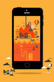 Έξυπνες πληροφορίες ύφους τηλεφωνικής έννοιας γραφικό ταξίδι απεικόνιση αποθεμάτων