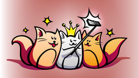 Έξυπνες συσκευές και χαριτωμένες γάτες κινούμενων σχεδίων Στοκ Εικόνες