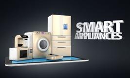 Έξυπνες συσκευές κουζινών στο PC ταμπλετών απεικόνιση αποθεμάτων