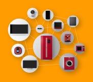 Έξυπνες συσκευές στο δίκτυο Έννοια για IoT διανυσματική απεικόνιση
