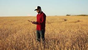 Έξυπνες χρησιμοποιώντας σύγχρονες τεχνολογίες καλλιέργειας στη γεωργία Ο αγρότης γεωπόνων κρατά και αγγίζει τον ψηφιακό υπολογιστ απόθεμα βίντεο