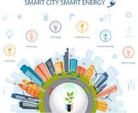 Έξυπνη έννοια πόλεων και έξυπνη ενέργεια Στοκ εικόνες με δικαίωμα ελεύθερης χρήσης
