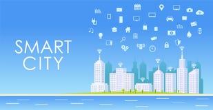Έξυπνη έννοια πόλεων landscape urban Διαδίκτυο των πραγμάτων Στοκ εικόνα με δικαίωμα ελεύθερης χρήσης
