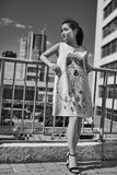 Έξυπνη ασιατική γυναίκα στο ρόδινο φόρεμα μόδας που θαυμάζει την άποψη πόλεων Στοκ Εικόνα