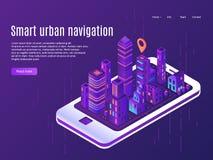 Έξυπνη αστική ναυσιπλοΐα Άποψη αεροπλάνων πόλεων σχετικά με την οθόνη smartphone, σχέδιο οδών πόλεων οικοδόμησης και διανυσματική ελεύθερη απεικόνιση δικαιώματος