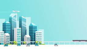 Έξυπνη ζωτικότητα πόλεων με το αυτοκίνητο, το τραίνο, το κτήριο και τον ουρανό ελεύθερη απεικόνιση δικαιώματος