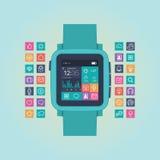 Έξυπνη διανυσματική απεικόνιση ρολογιών Κινητή συσκευή Στοκ φωτογραφίες με δικαίωμα ελεύθερης χρήσης