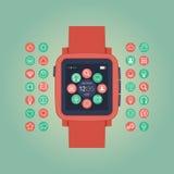 Έξυπνη διανυσματική απεικόνιση ρολογιών Κινητή συσκευή Στοκ Φωτογραφία