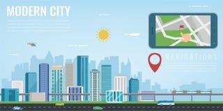 Έξυπνη ναυσιπλοΐα πόλεων Έξυπνο τηλέφωνο με τη θέση πόλεων πόλη ανασκόπησης σύγχρονη διάνυσμα διανυσματική απεικόνιση