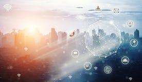 Έξυπνη πόλη και ασύρματο δίκτυο επικοινωνίας, αφηρημένη εικόνα VI στοκ εικόνες