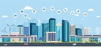 Έξυπνη πόλη με τα επιχειρησιακά σημάδια Σε απευθείας σύνδεση σύγχρονη πόλη έννοιας Στοκ εικόνες με δικαίωμα ελεύθερης χρήσης