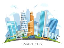 Έξυπνη πόλη με το διανυσματικό τοπίο αψίδων ουρανοξυστών Στοκ φωτογραφίες με δικαίωμα ελεύθερης χρήσης