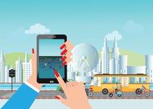 Έξυπνη πόλη και έξυπνη τηλεφωνική εφαρμογή που χρησιμοποιούν τις πληροφορίες θέσης Στοκ Εικόνα