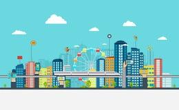 Έξυπνη πόλη με τα επιχειρησιακά σημάδια Σε απευθείας σύνδεση επιχειρησιακή έννοια διανυσματική απεικόνιση