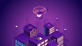 Έξυπνη isometric απεικόνιση πόλεων Ευφυή κτήρια Διαδίκτυο της έννοιας πραγμάτων Εμπορικό κέντρο με τους ουρανοξύστες διανυσματική απεικόνιση