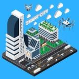 Έξυπνη Isometric σύνθεση πόλεων απεικόνιση αποθεμάτων