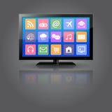 Έξυπνη TV με τα εικονίδια apps Στοκ Εικόνες